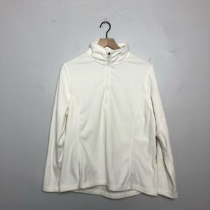 Lands' End Cream Pullover Fleece Sweatshirt